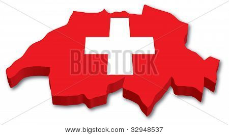 3D Swiss map with flag