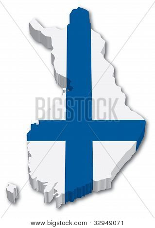 3D Finland map with flag