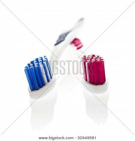 Isolated Objects: His 'n Hers Toothbrushes