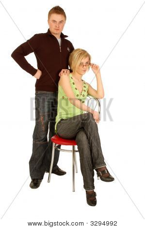Young Adult Discontent Student And A Young Teacher