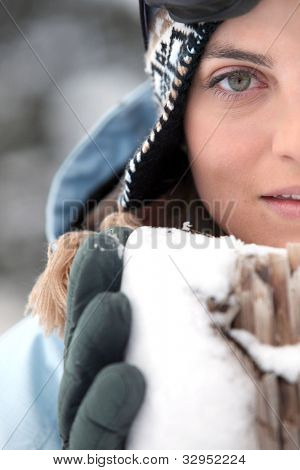Head-shot of woman in the snow