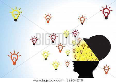 Person's Head Opened Showing Ideas Flowing Outside