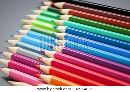 colorful wooden pencils crayons