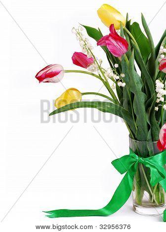 Closeup Image Bouquet Of Spring Flower
