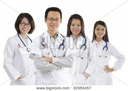 Asian medical team standing on white background