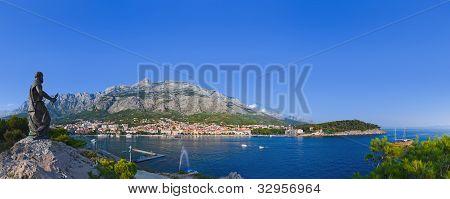 Panorama Of Makarska And Statue Of St. Peter At Croatia