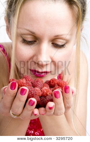 Blonde Woman With Raspberries