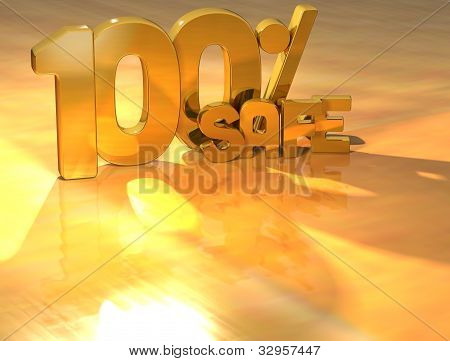 3D 100 Percent Safe Gold Text