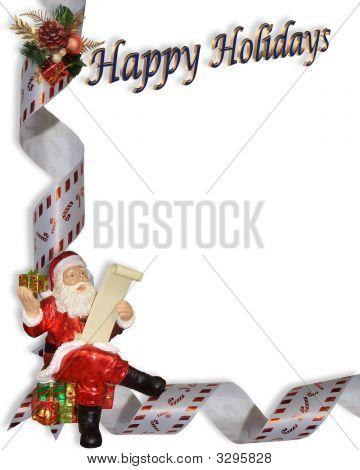 Happy Holidays Santa Corner Illustration