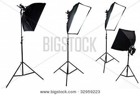 Photo Studio Equipment. Four Softboxes Isolated On White Background