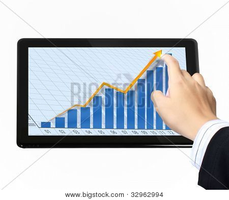 Businessmen, hand pointing on touch screen graph on a tablet  isolated on white background