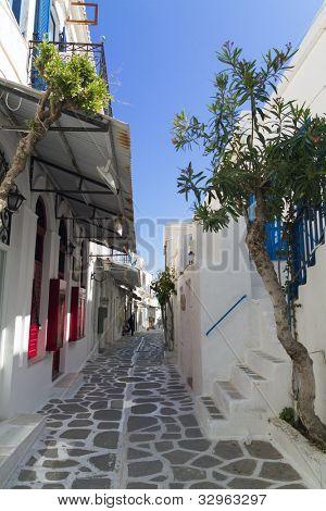 parikia street in greek island Paros