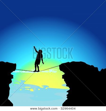 Man Walking On Tightrope Vector Illustration