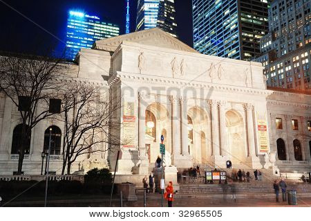 NEW YORK CITY, NY - DEC 30: New York Public Library and street on December 30, 2011 New York City. It is the 2nd largest public library in US and managed with both private and public financing.