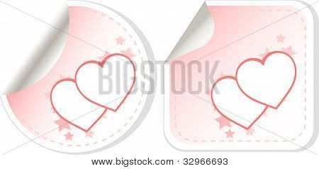 set of two love valentines heart label. sticker vector