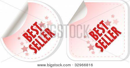 Mejor conjunto de pegatinas de vendedor rojo. Vector