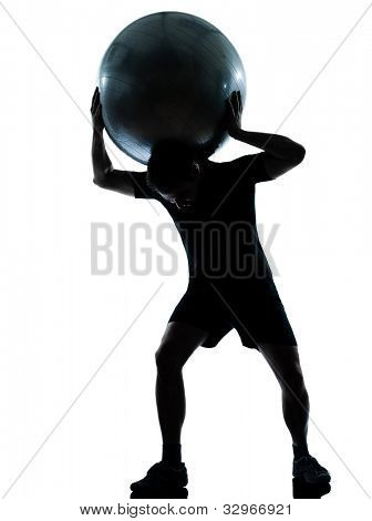 one n man workout holding fitness ball exercising workout aerobic fitness posture full length silhouette on studio isolated on white background