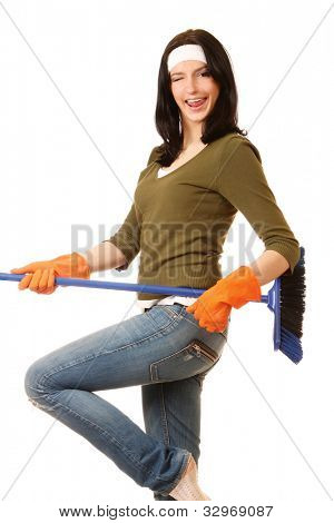 Happy cleaning woman