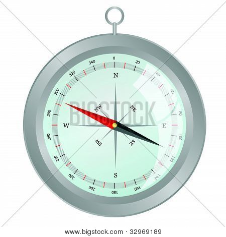 Silver Compass Vector Illutsration