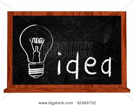 Idea And Bulb On Blackboard