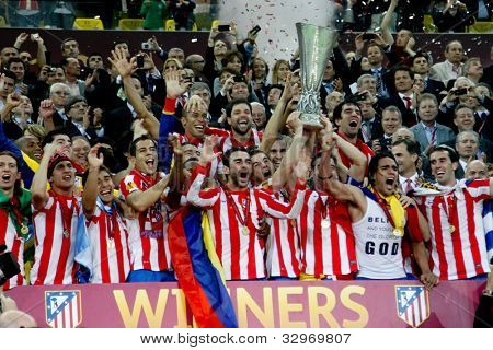 BUCHAREST, ROMANIA - MAY 9, 2012: Club Atletico de Madrid's wins UEFA Europa League on May 9, 2012 in Bucharest, Romania.