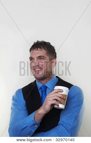 Businessman Wearing A Shirt And Waist Coat