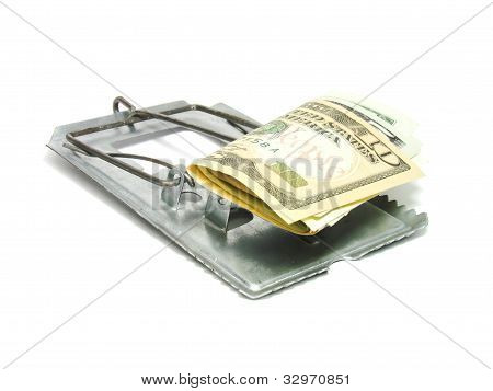 Mousetrap with U.S. dollar notes
