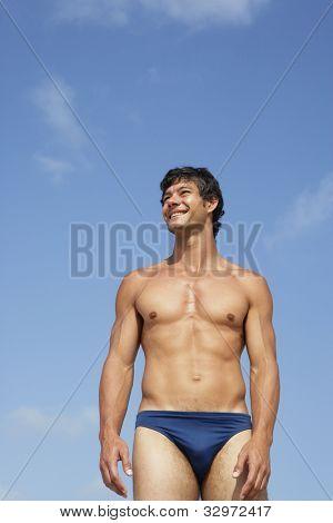 South American man in bathing suit