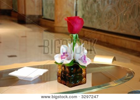 Lily Flower On Table In Case