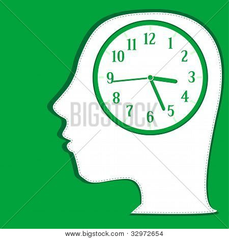 Man silhouette thinking about time. background vector