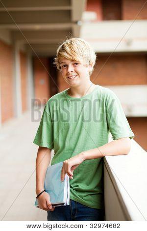 teen student in school building