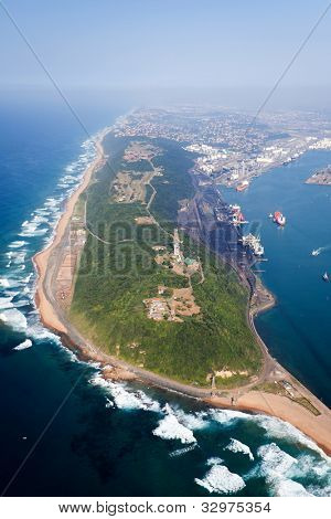overhead view of durban harbor, south africa