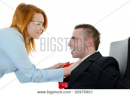 Office Workers Flirting In Work