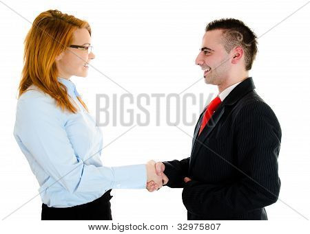 Businessman And Businesswoman Are Meeting