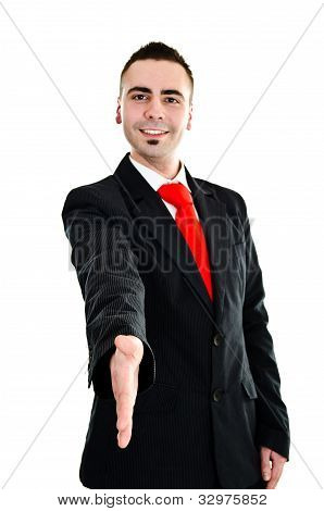 Young Businessman Stretching His Hand For Handshake