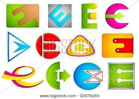 illustration of set of different colorful icon for alphabet E