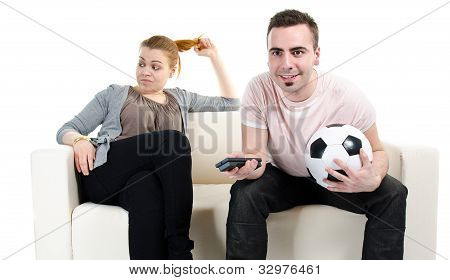Couple Watching Football