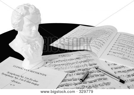 Composer At Work (black And White)