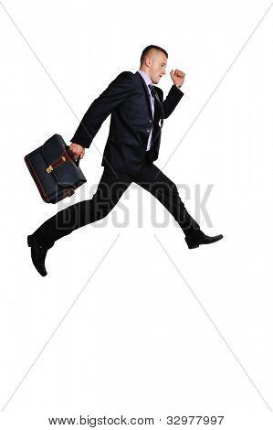 Todo el cuerpo de un hombre de negocios con una maleta a toda prisa sobre fondo blanco