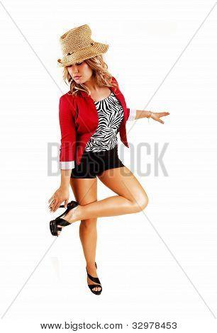 Woman Fixing Her Heels.