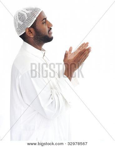Black arabic man praying