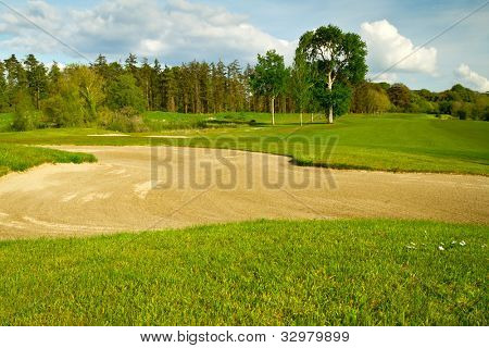 Irish idyllic golf course with sandbanks