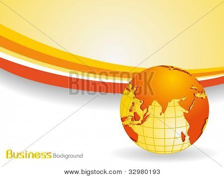 Professional Corporate or Business template for financial presentations showing globe in orange and yellow color on  wave background. EPS 10. Vector illustration.
