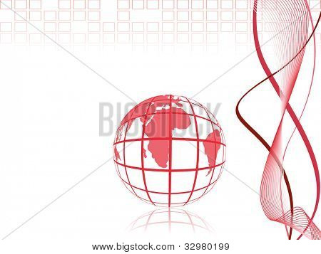 Professional Corporate or Business template for financial presentations showing globe in pink color on pink wave and abstract background. EPS 10. Vector illustration.
