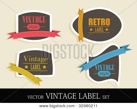 Retro collection of brown color label, tag or sticker set with different color ribbon and text. EPS 10. Easy to edit.