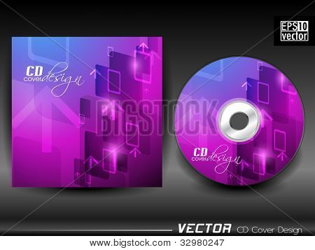 Vector CD cover in purple and blue color with up side arrow and space for your text. EPS 10. Vector illustration.