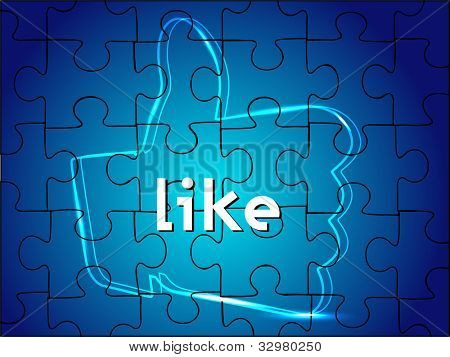 Digital like or thumb up sign on blue puzzle background or screen. EPS 10.Social media and social network concept.