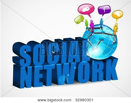 3D social networking background with text, mini globe and people connected with network, isolated on white. EPS 10.