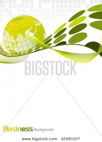 Professional Corporate or Business template for financial presentations showing globe in greencolor on wave and abstract background. EPS 10. Vector illustration.