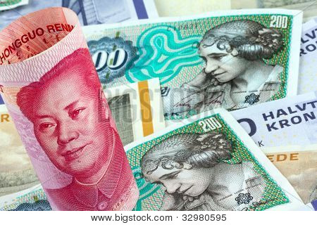 danish kroner. currency of denmark in europe. and chinese yuan